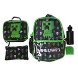MINECRAFT BACKPACK 5 PIECES (LUNCH BOX, PENCIL CASE, ICE PAK, WATER BOTTLE)