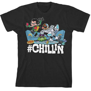 OFFICIAL TEEN TITANS GO! #CHILLIN T-SHIRT (BOYS S-XL)