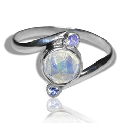tanzanite and moonstone sterling silver ring 2