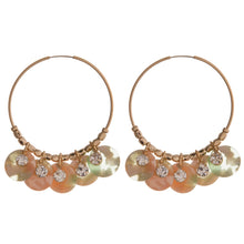 Charm and Rhinestone Hoop Earrings