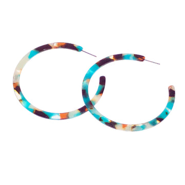 Teal Tortoise Acetate Earrings