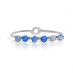Blue Crackled Agate Sterling Silver Bangle Bracelet