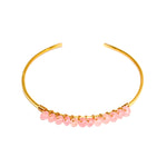 Wrapped & Beaded Pink Jade Gold Cuff