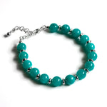 Turquoise Jade & Silver Bead Chain Bracelet
