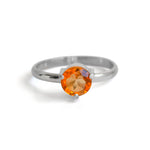 Solitaire Citrine Three Prong Sterling Silver Ring