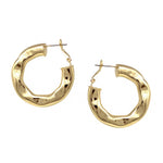Hammered Tube Gold Hoop Earrings
