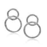 Hammered and Locked Circles Sterling Silver Earrings