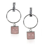 Hammered Geometric Hoop and Rose Charm Sterling Silver Earrings