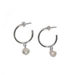 Hoop with Pearl Charm Sterling Silver Earrings