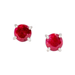 Madagascar Ruby Sterling Silver Stud Earrings