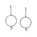 Twisted Hoop Topaz Charm Sterling Silver Fishhook Earrings