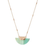 Amazonite Fan Pendant Gold Plated Necklace