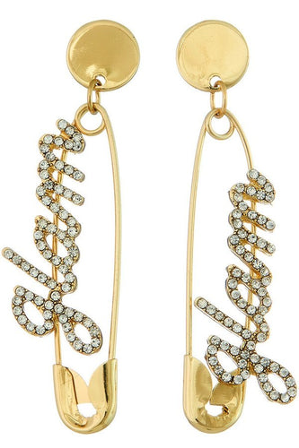 Gold Glam Pin Earrings