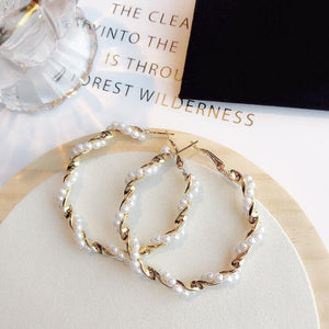 Pearl Twist Hoop Earrings
