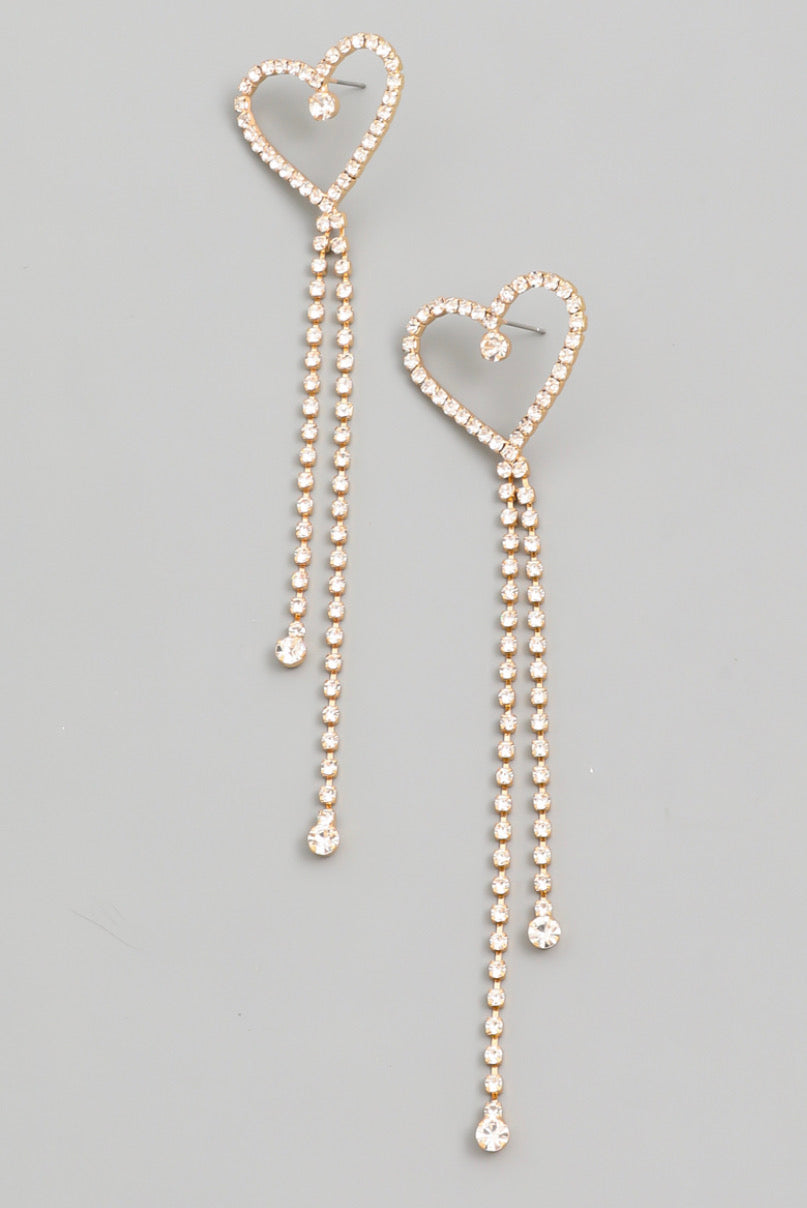 Shiny Rhinestone Heart Earrings