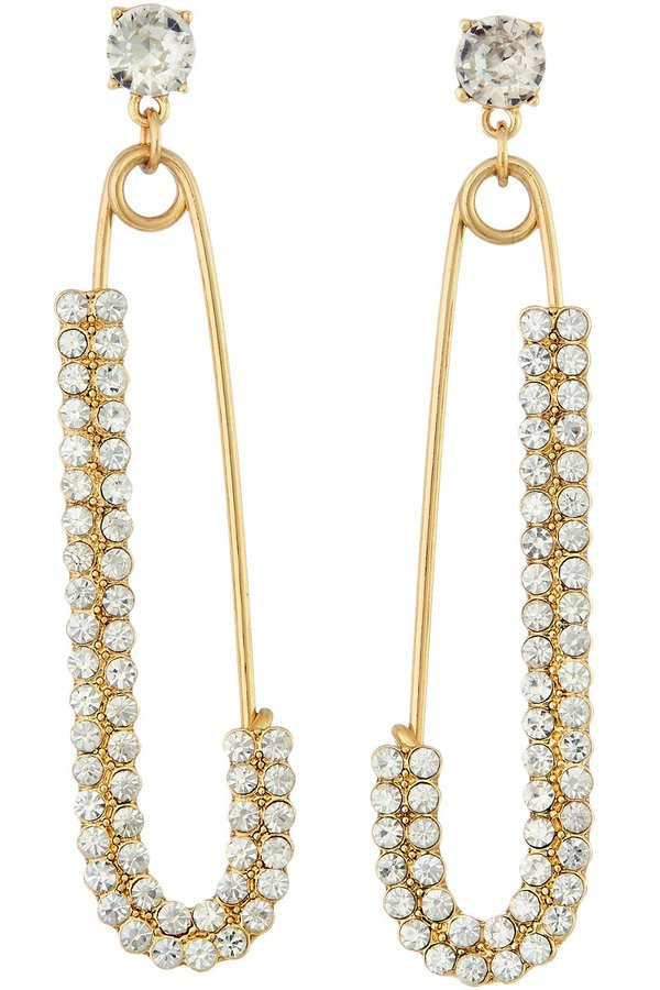 Rhinestone Drop Safety Pin Earrings