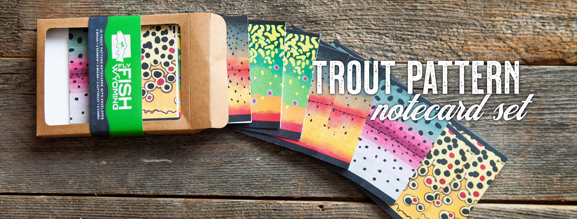trout pattern notecards, fly fishing notecards, fly fishing gift