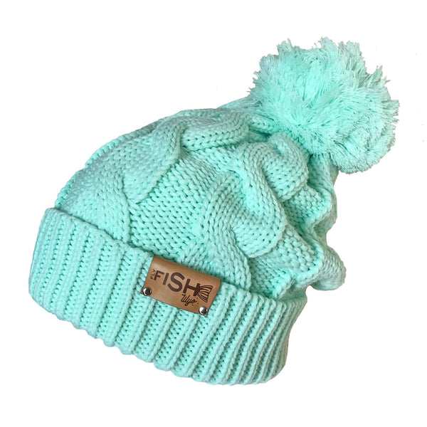 Fly Fish Wyoming Beanie Mint Fishy Cable Knit Beanie