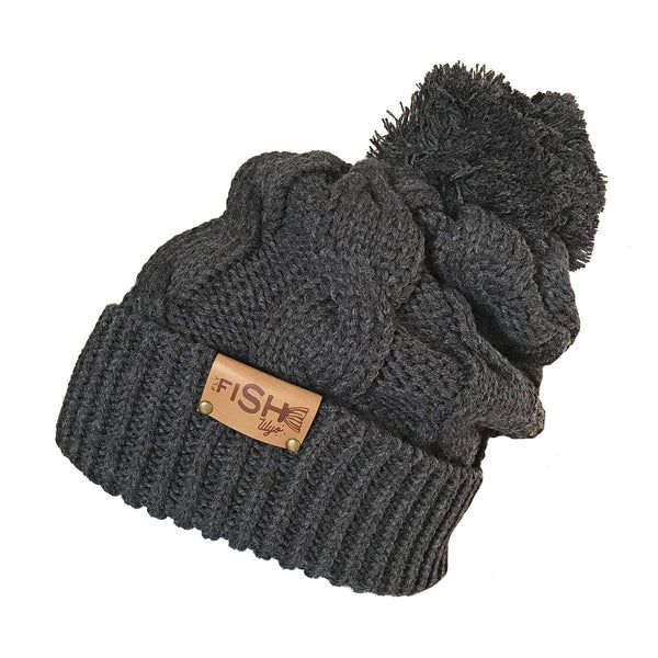 Fly Fish Wyoming Beanie Charcoal Fishy Cable Knit Beanie