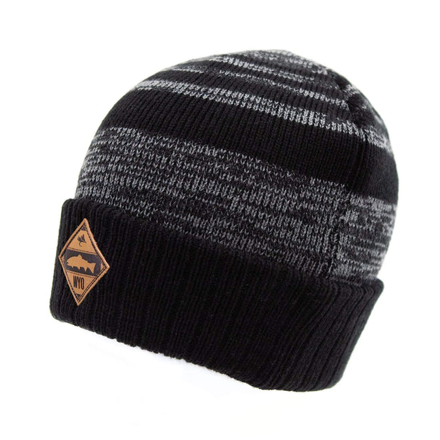Fly Fish Wyoming Beanie Fly Fish Wyoming® Leather Patch Beanie - Black