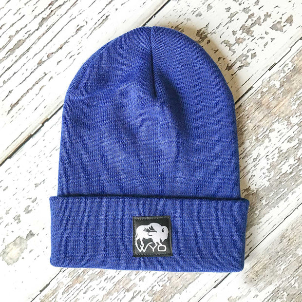 Fly Fish Wyoming Beanie Royal Blue Wyo Bison Fly Knit Beanies