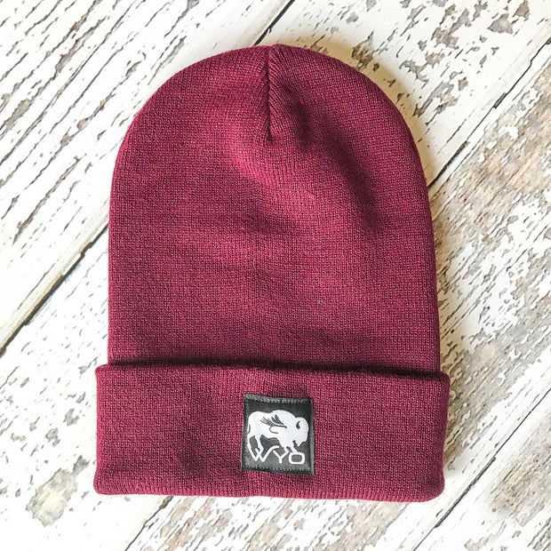 Fly Fish Wyoming Beanie Burgundy Wyo Bison Fly Knit Beanies
