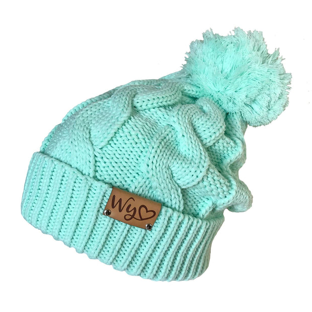 Fly Fish Wyoming Beanie Mint Wyo Love Cable Knit Beanie
