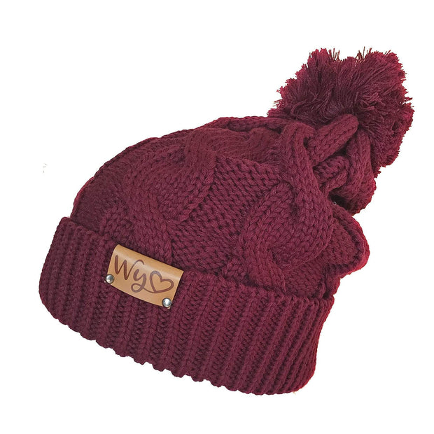 Fly Fish Wyoming Beanie Burgundy Wyo Love Cable Knit Beanie