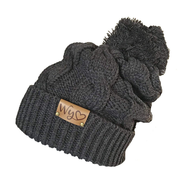 Fly Fish Wyoming Beanie Charcoal Wyo Love Cable Knit Beanie