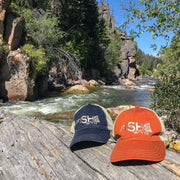 Fly Fish Wyoming Hat Texas Orange Fishtail Baseball Trucker Hat - Orange