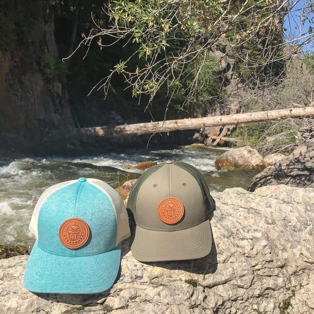 Fly Fish Wyoming Hat Loden Reel Patch Trucker Hat - Loden