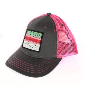 Fly Fish Wyoming Hat Black/Pink Youth Rainbow Trout Pattern Patch Hat