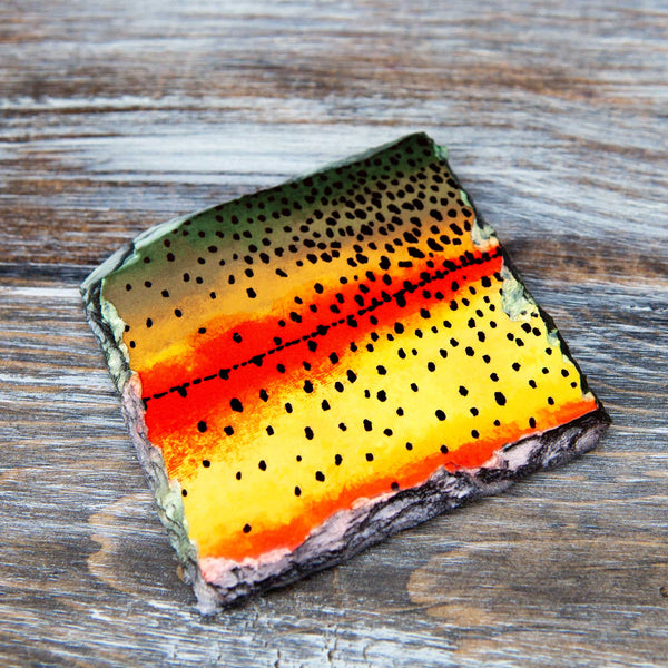 Fly Fish Wyoming Home Goods Trout Pattern Slate Coasters
