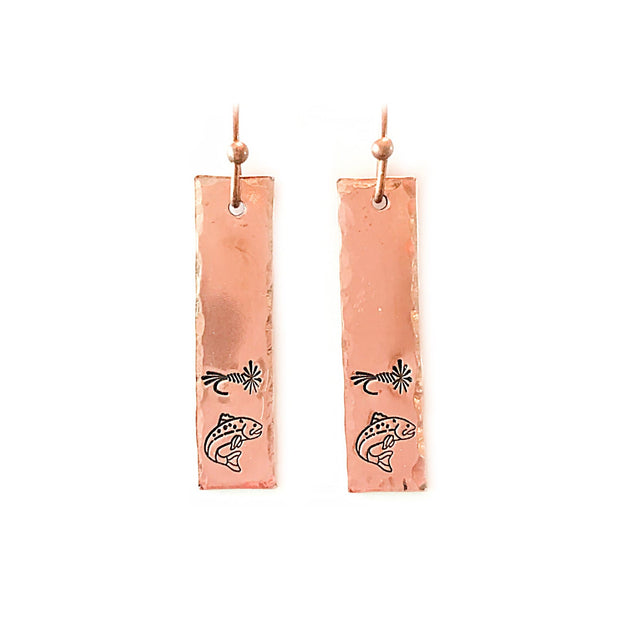 Fly Fish Wyoming Jewelry Copper Fly + Fish Earrings