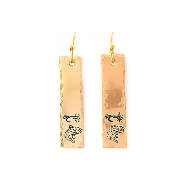 Fly Fish Wyoming Jewelry Gold Fly + Fish Earrings