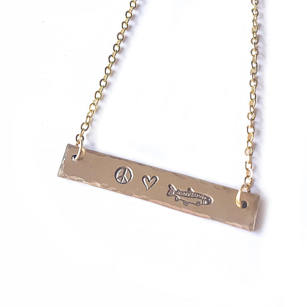 Fly Fish Wyoming Jewelry Gold Peace, Love + Fishing Necklace