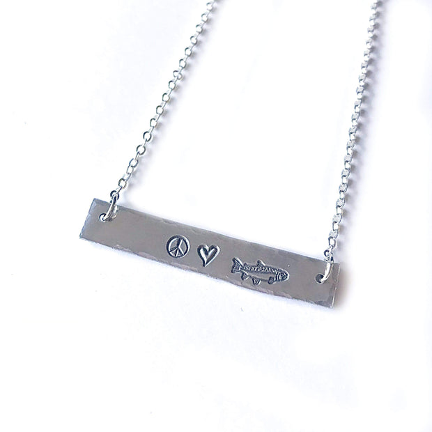 Fly Fish Wyoming Jewelry Silver Peace, Love + Fishing Necklace