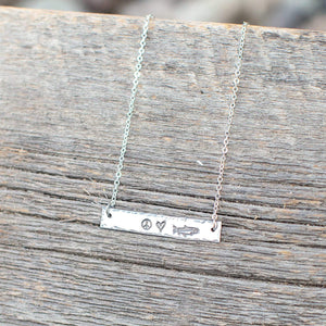 Fly Fish Wyoming Jewelry Peace, Love + Fishing Necklace