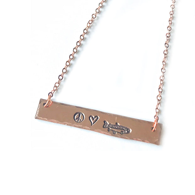Fly Fish Wyoming Jewelry Copper Peace, Love + Fishing Necklace