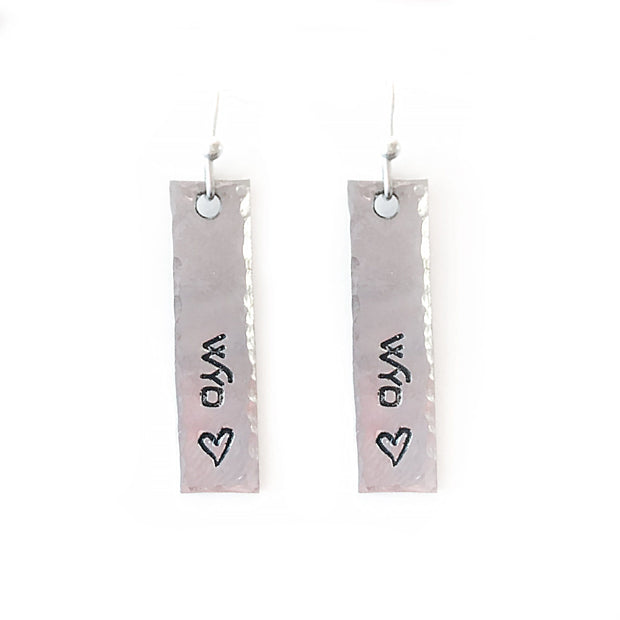 Fly Fish Wyoming Jewelry Silver Wyo + Love Earrings