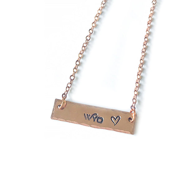 Fly Fish Wyoming Jewelry Copper Wyo + Love Necklace