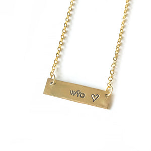Fly Fish Wyoming Jewelry Gold Wyo + Love Necklace