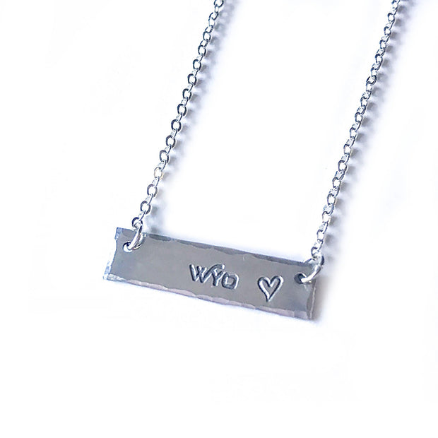 Fly Fish Wyoming Jewelry Silver Wyo + Love Necklace