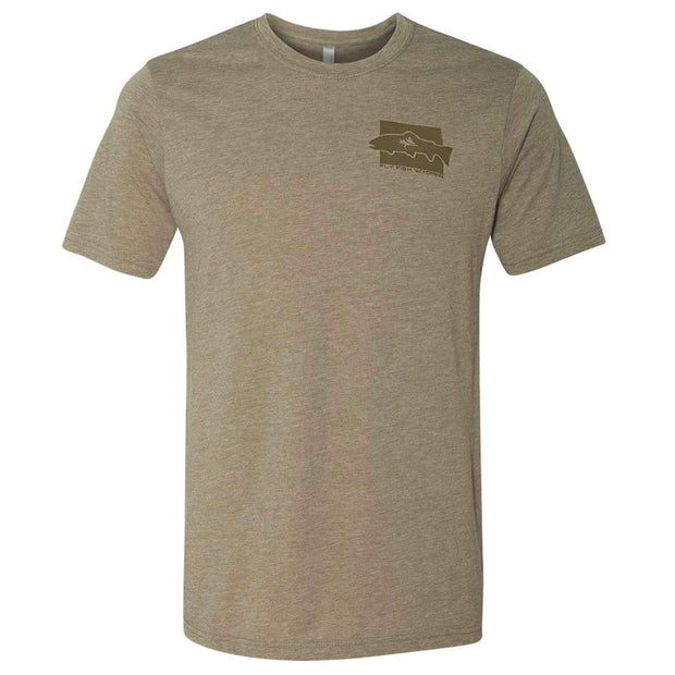 Fly Fish Wyoming Men's Brown Trout Pattern Tee