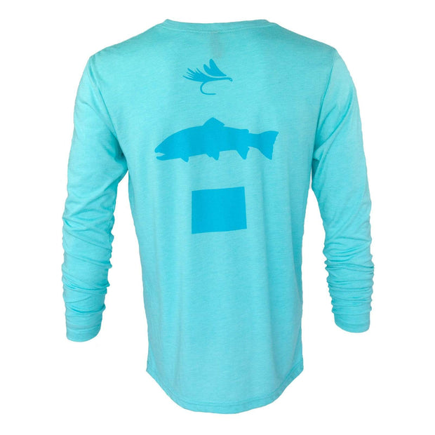Fly Fish Wyoming Men's S / Tahiti Blue Fly Fish Wyoming® Spine Design Long Sleeve - Blue