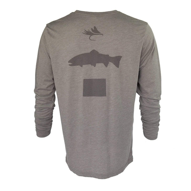 Fly Fish Wyoming Men's S / Driftwood Fly Fish Wyoming Spine Design Long Sleeve - Driftwood