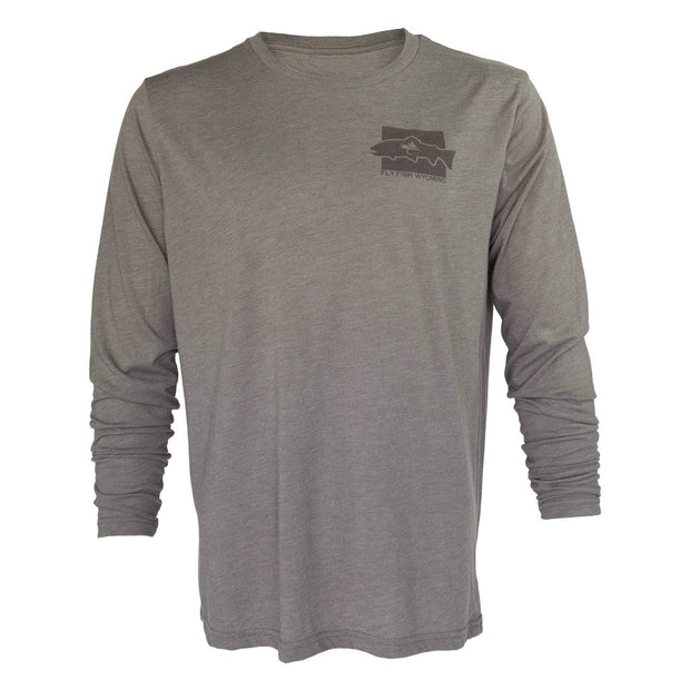 Fly Fish Wyoming Men's Fly Fish Wyoming Spine Design Long Sleeve - Driftwood