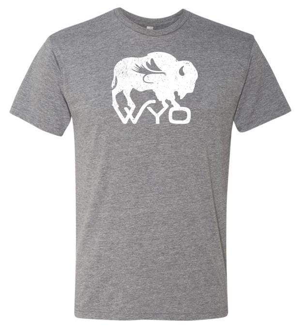 Fly Fish Wyoming Men's S / Heather Grey Wyo Fly Bison Logo Tee - Heather Grey