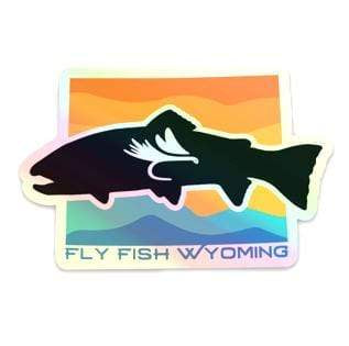 Fly Fish Wyoming Sticker Fly Fish Wyoming Sunset Holographic