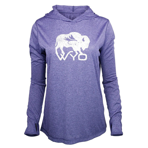 Fly Fish Wyoming Women's S / Periwinkle Wyo Fly Bison - Women's Performance Hoodie
